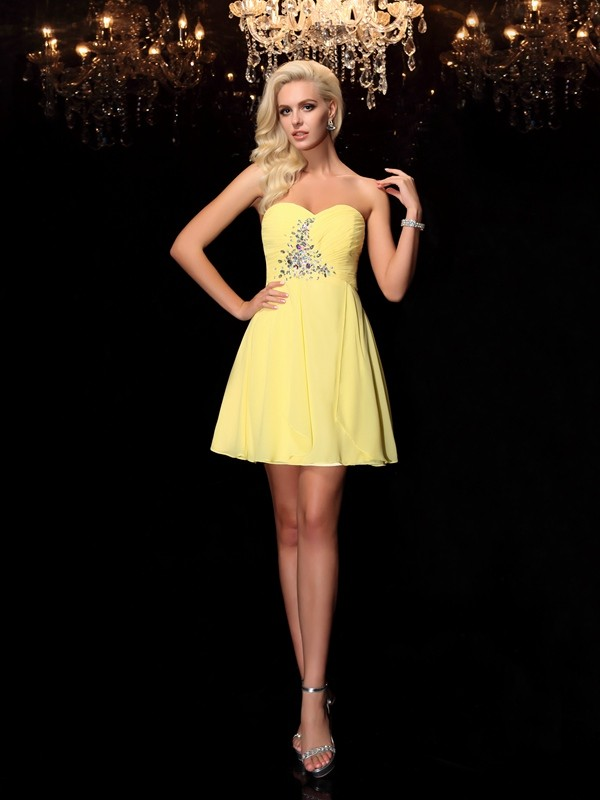 Amazing A-Line Sweetheart Sleeveless Short Chiffon Dress