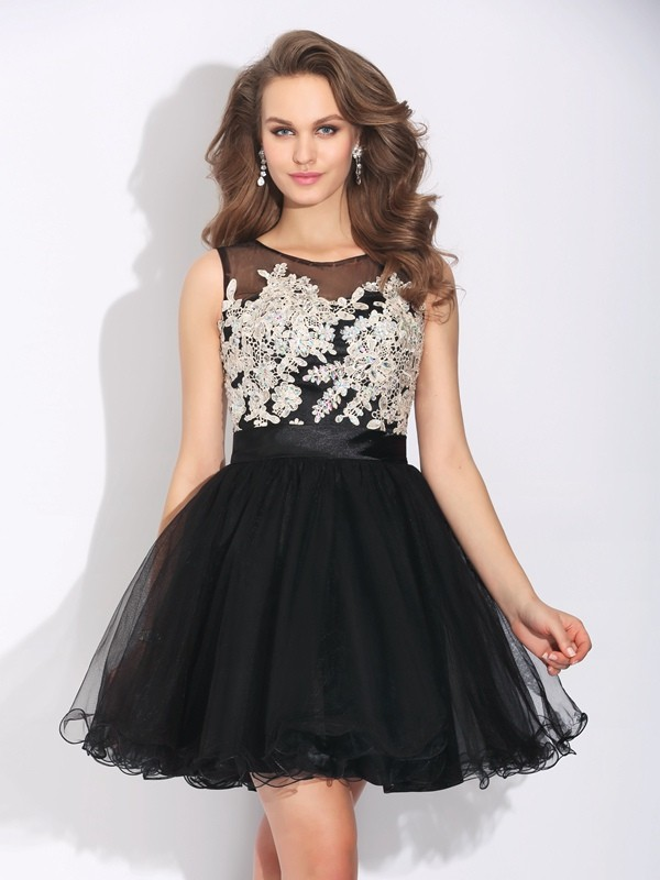 Amazing A-Line Scoop Sleeveless Short Net Dress