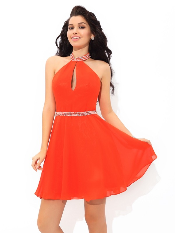 Amazing A-Line Halter Sleeveless Short Chiffon Cocktail Dress