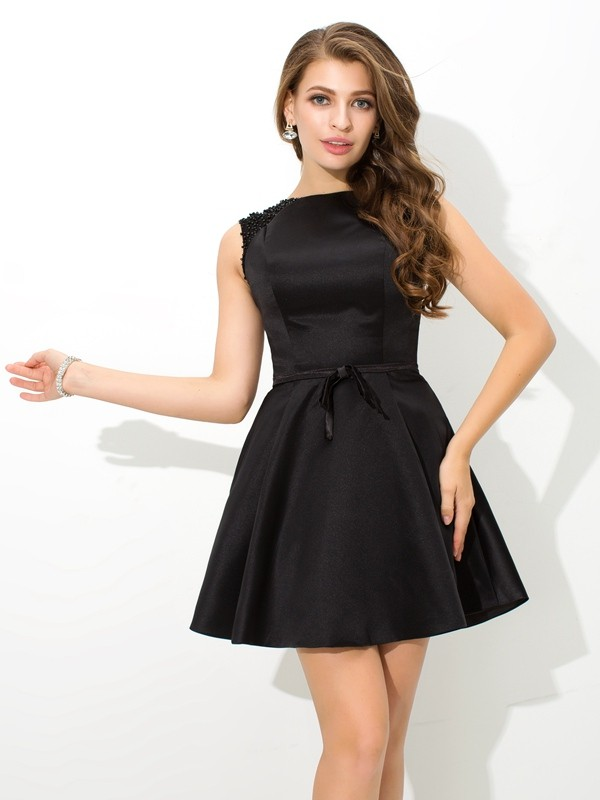Amazing A-Line High Neck Sleeveless Short Satin Cocktail Dress