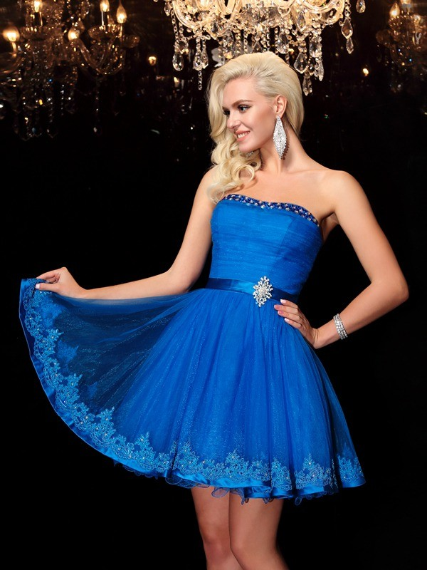 Amazing A-Line Strapless Sleeveless Short Net Dress