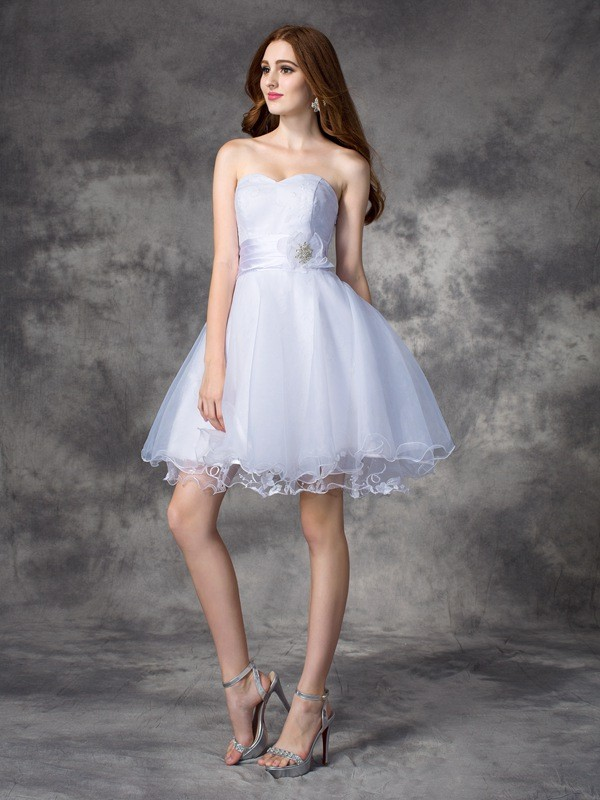 Amazing A-Line Sweetheart Sleeveless Short Organza Dress