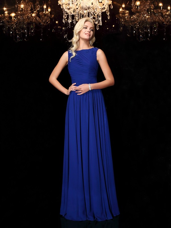 Amazing A-Line Bateau Sleeveless Long Chiffon Dress