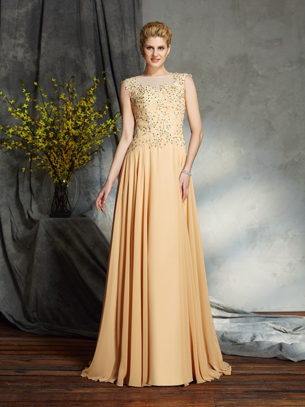 Amazing A-Line Scoop Sleeveless Long Chiffon Mother of the Bride Dress