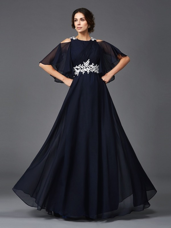 Amazing A-Line Straps 1/2 Sleeves Long Chiffon Mother of the Bride Dress