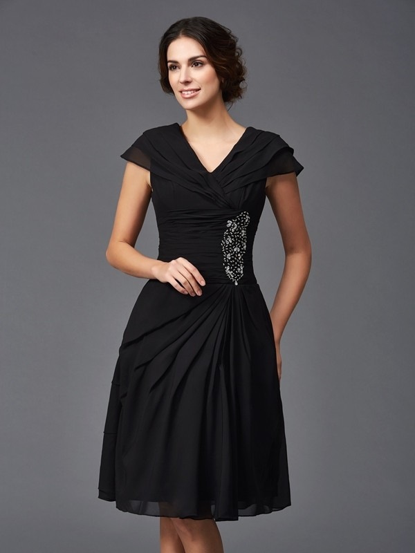 Amazing A-Line V-neck Sleeveless Short Chiffon Mother of the Bride Dress