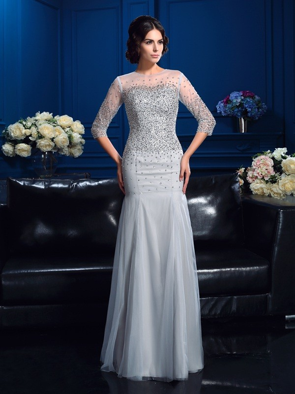 Amazing Sheath Scoop 3/4 Sleeves Long Net Mother of the Bride Dress
