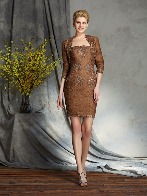 Amazing Sheath Strapless Lace Sleeveless Short Lace Mother of the Bride Dress