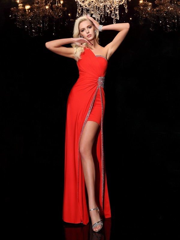 Glamorous Sheath One-Shoulder Sleeveless Long Spandex Dress
