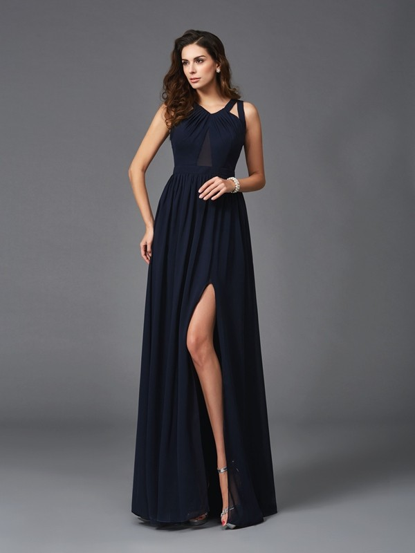 Glamorous A-Line Straps Sleeveless Long Chiffon Dress