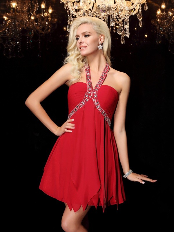 Glamorous A-Line Halter Sleeveless Chiffon Dress