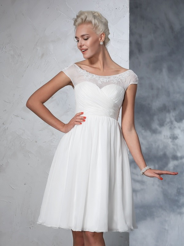 Glamorous A-Line Sheer Neck Short Sleeves Short Chiffon Wedding Dress