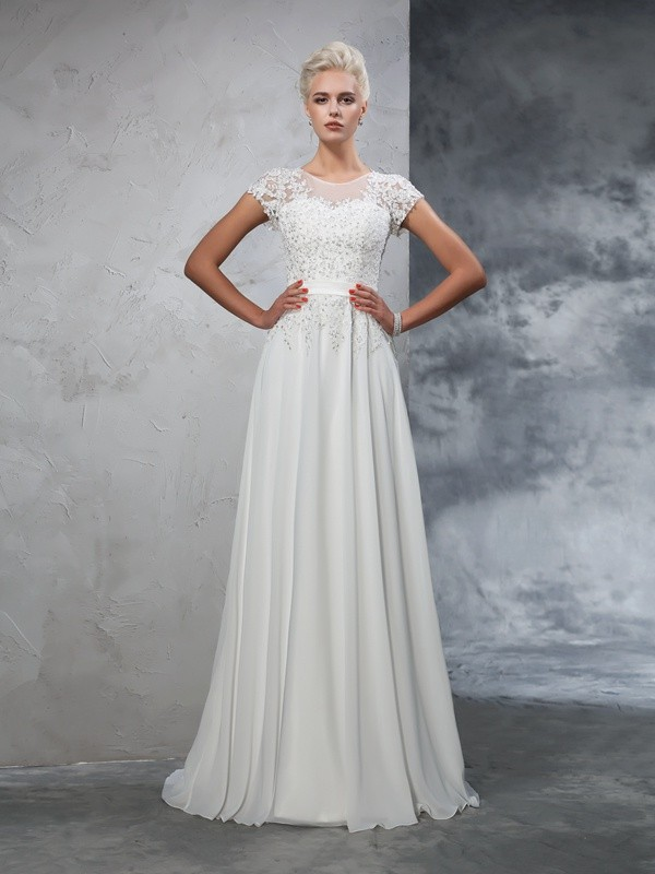 Glamorous A-Line Sheer Neck Short Sleeves Long Chiffon Wedding Dress