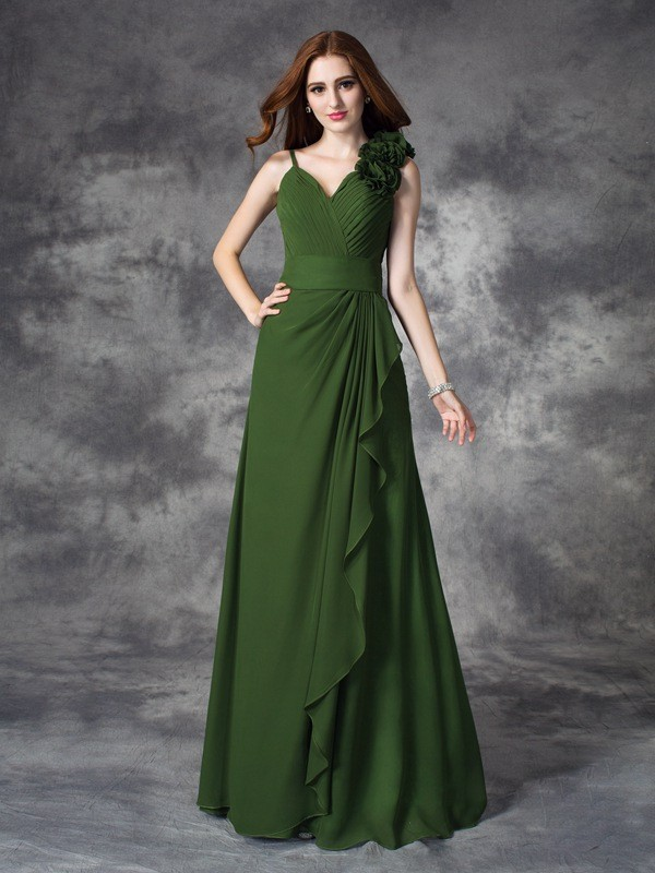 Glamorous A-Line V-neck Sleeveless Long Chiffon Bridesmaid Dress