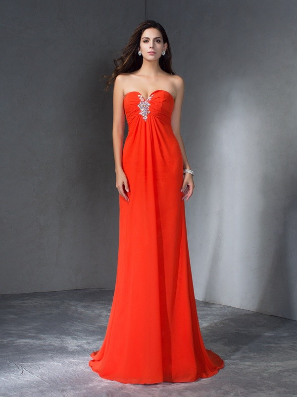Glamorous A-Line Sweetheart Sleeveless Long Chiffon Dress