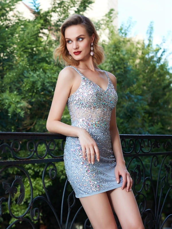 Beautiful Sheath Spaghetti Straps Sleeveless Net Sequin Short/Mini Dress