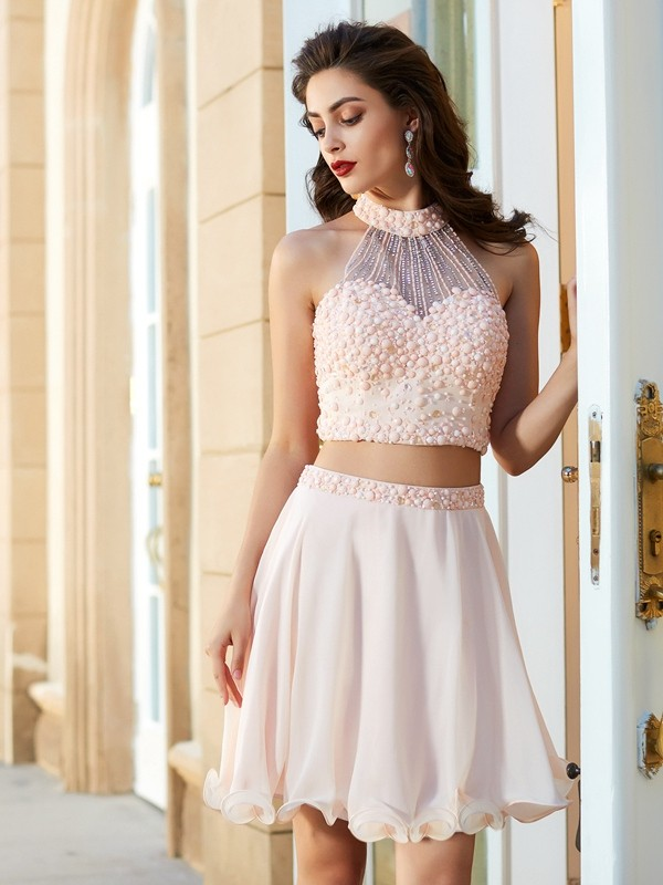 Beautiful A-Line Halter Sleeveless Chiffon Short/Mini Two Piece Dress