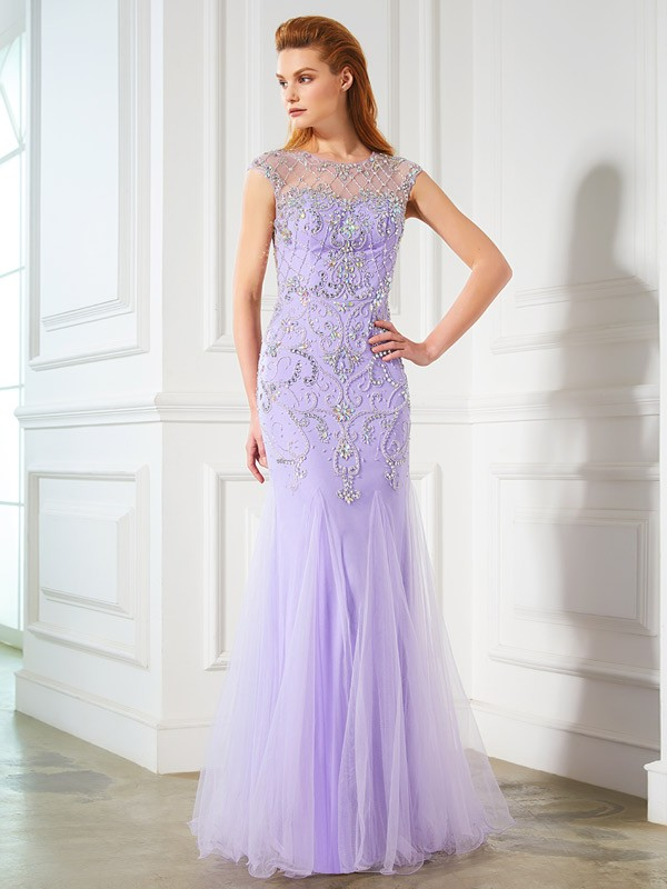 Beautiful Mermaid Scoop Sleeveless Floor-length Tulle Dress