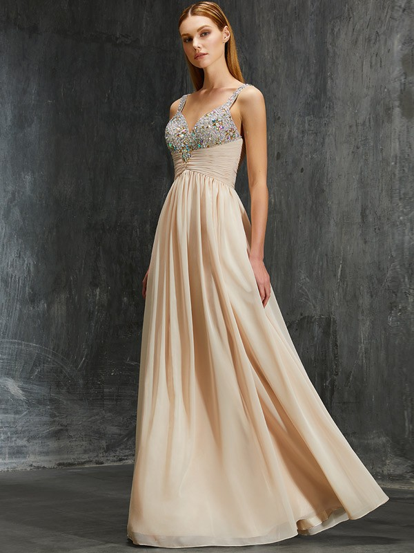 Beautiful A-Line Spaghetti Straps Floor-Length Chiffon Dress
