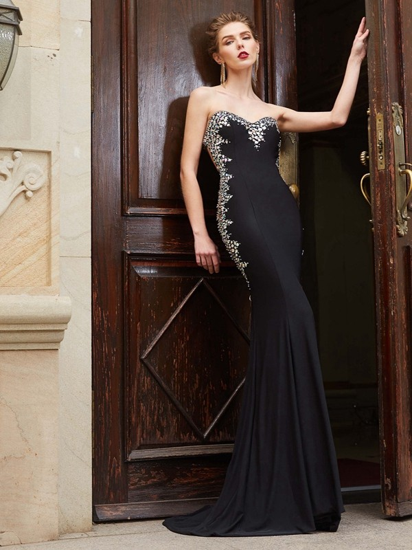 Discount Sheath Sweetheart Sequin Sleeveless Spandex Sweep/Brush Train Dress