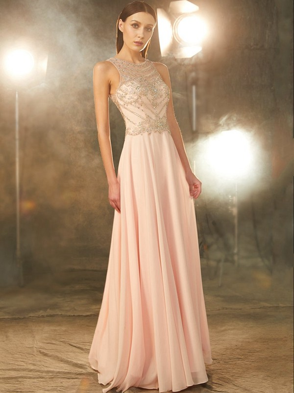 Best A-Line Scoop Sleeveless Chiffon Floor-length Dress