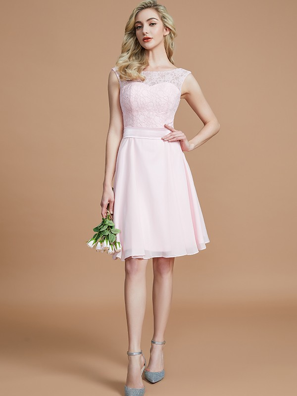 Gorgeous A-Line Bateau Sleeveless Lace Short/Mini Chiffon Bridesmaid Dress