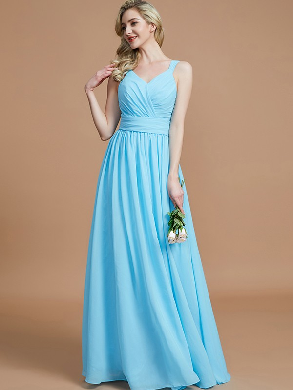 Gorgeous A-Line V-neck Chiffon Floor-Length Sleeveless Bridesmaid Dress