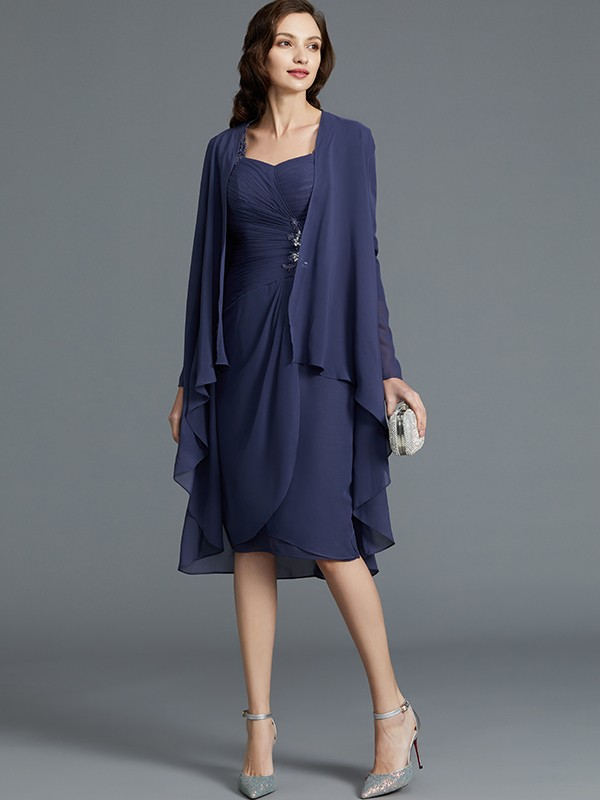 Gorgeous Sheath Sweetheart Chiffon 1/2 Sleeves Knee-Length Mother of the Bride Dress