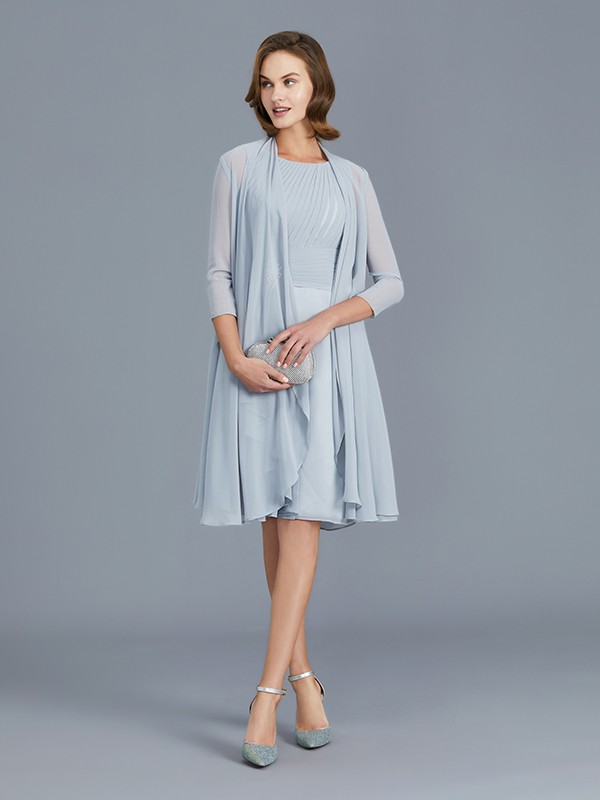 Exquisite A-Line Scoop Chiffon Knee-Length Sleeveless Mother of the Bride Dress