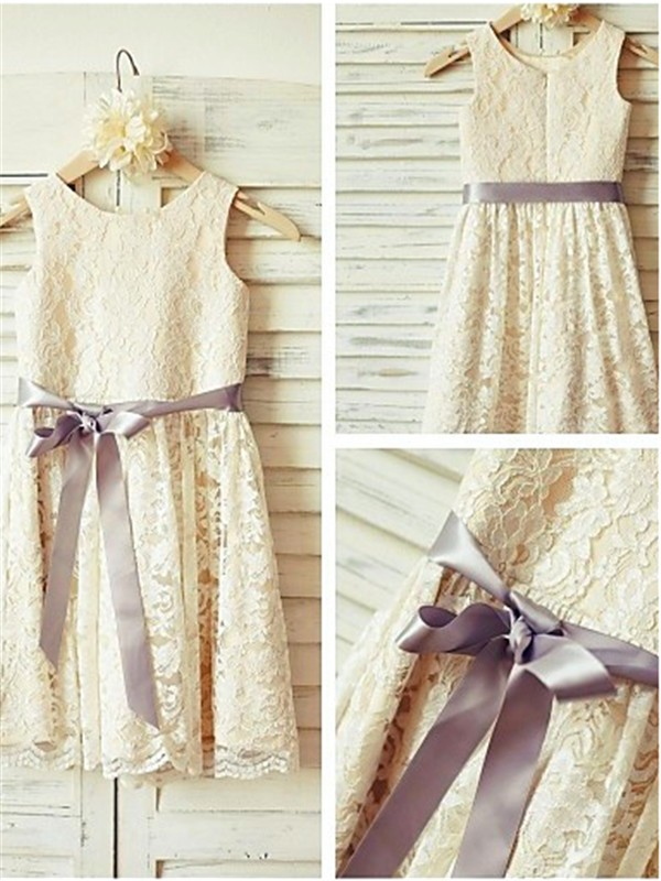 Affordable A-line Scoop Sleeveless Tea-Length Lace Flower Girl Dress