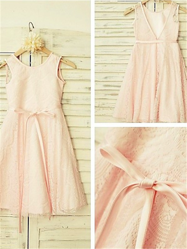 Nice A-line Scoop Sleeveless Tea-Length Lace Flower Girl Dress