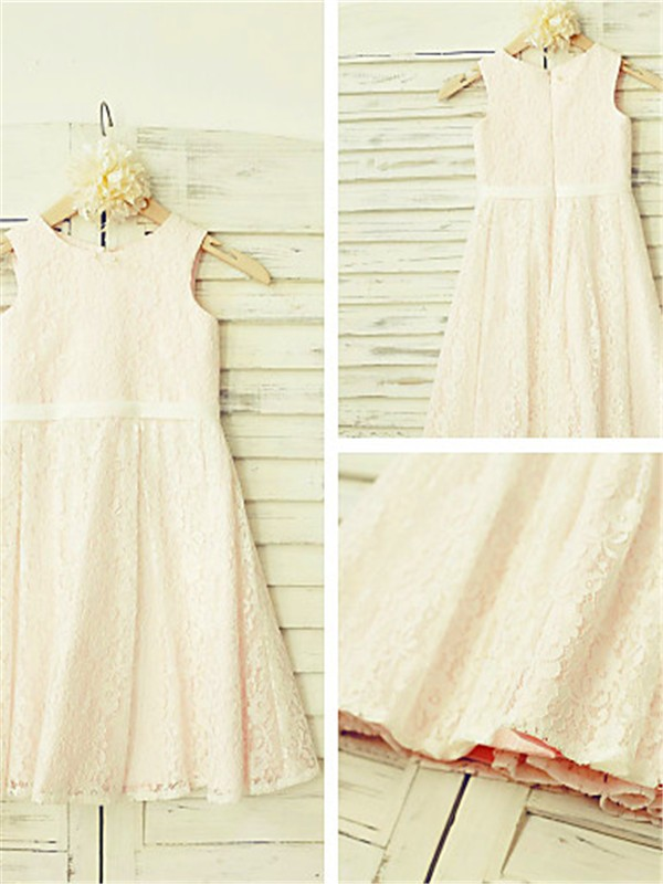 New A-line Jewel Sleeveless Tea-length Lace Flower Girl Dress
