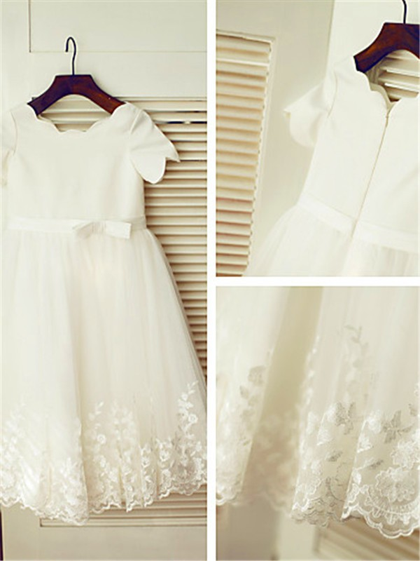 Chic A-line Scoop Short Sleeves Tea-length Lace Flower Girl Dress