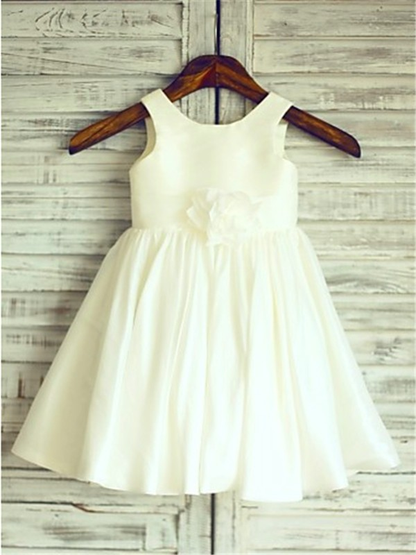 Glamorous A-line Scoop Sleeveless Tea-Length Chiffon Flower Girl Dress