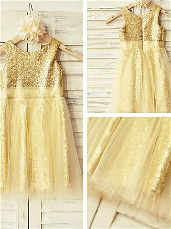 Chic A-line Scoop Sleeveless Tea-Length Sequins Flower Girl Dress