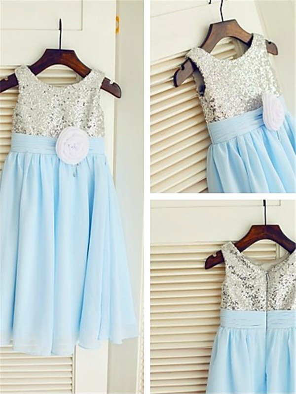 Affordable A-line Scoop Sleeveless Tea-length Chiffon Flower Girl Dress