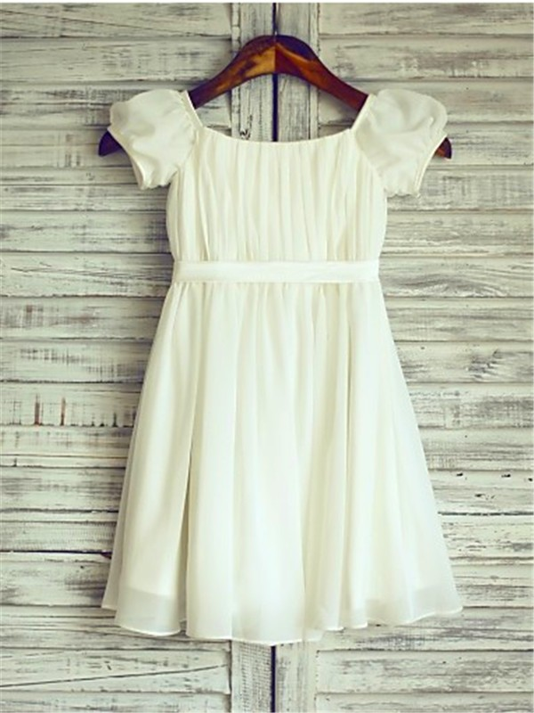 New A-line Square Short Sleeves Tea-Length Chiffon Flower Girl Dress