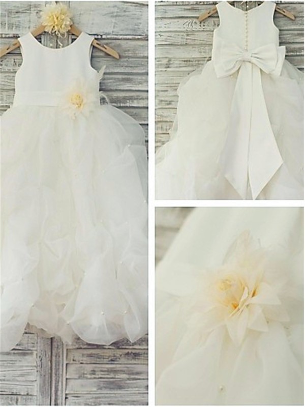 Exquisite Ball Gown Sleeveless Scoop Floor-Length Organza Flower Girl Dress