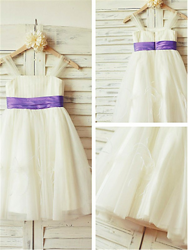 Fashion A-line Straps Sleeveless Tea-length Tulle Flower Girl Dress