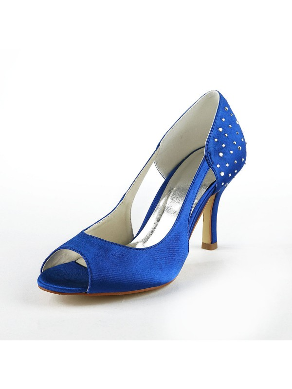 Beautiful Women Satin Stiletto Heel Peep Toe High Heels