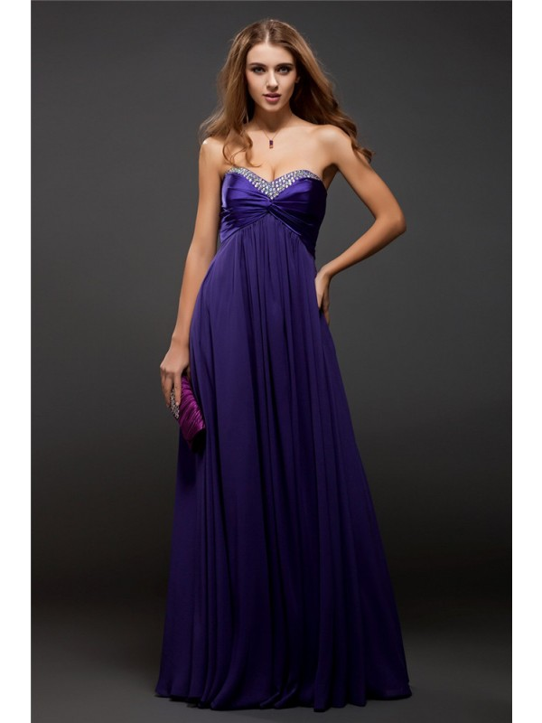 Hot Sale Sheath Sweetheart Sleeveless Long Chiffon Dress