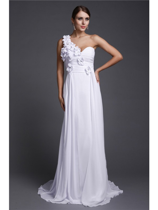 Hot Sale A-Line One Shoulder Long Sleeveless Chiffon Dress