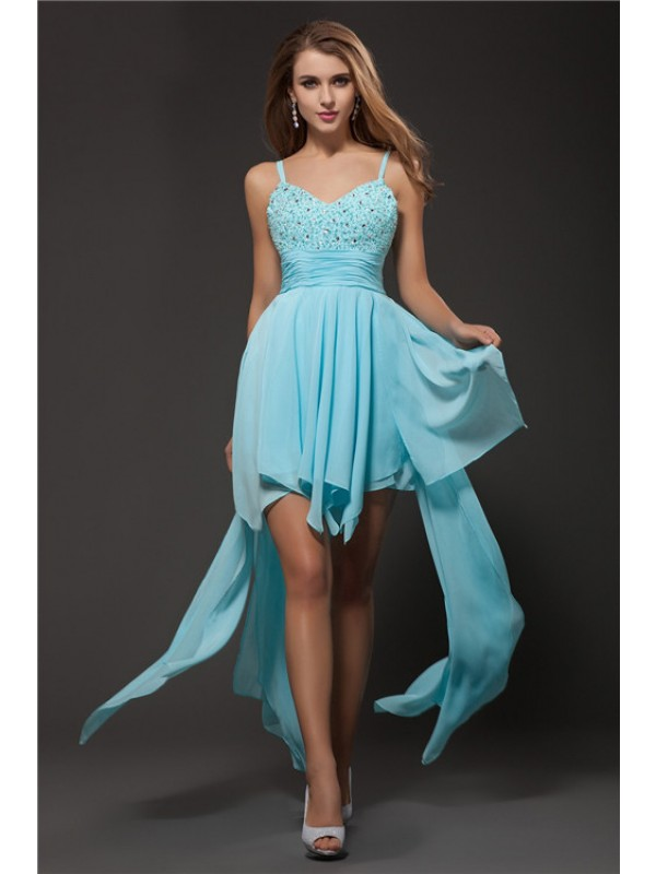 Gorgeous A-Line Spaghetti Straps Sleeveless Chiffon Cocktail Dress