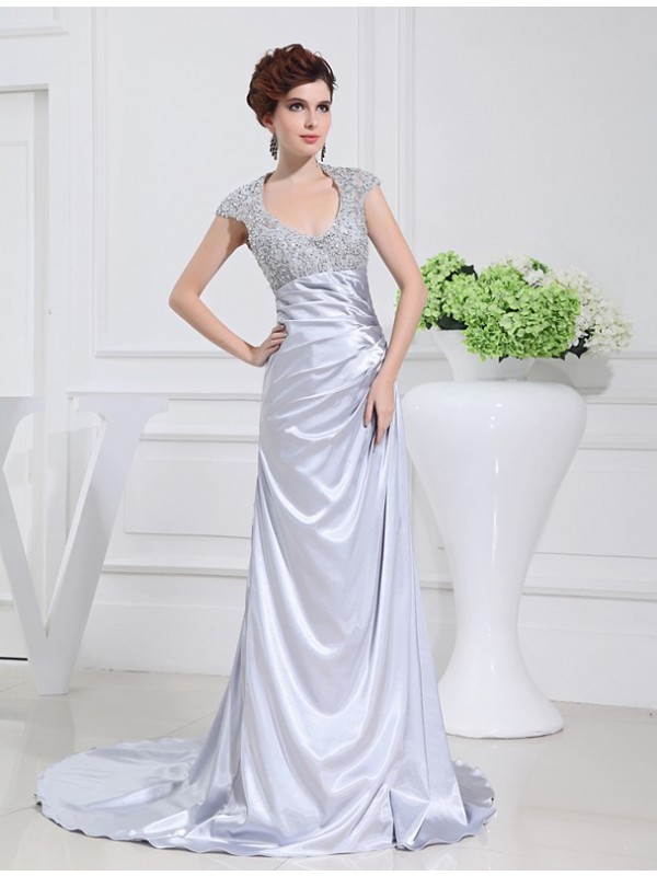 Hot Sale A-Line Scoop Long Lace Elastic Woven Satin Dress