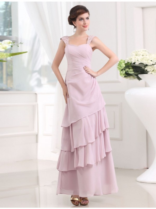 Hot Sale A-Line Sleeveless Straps Layered Chiffon Long Dress