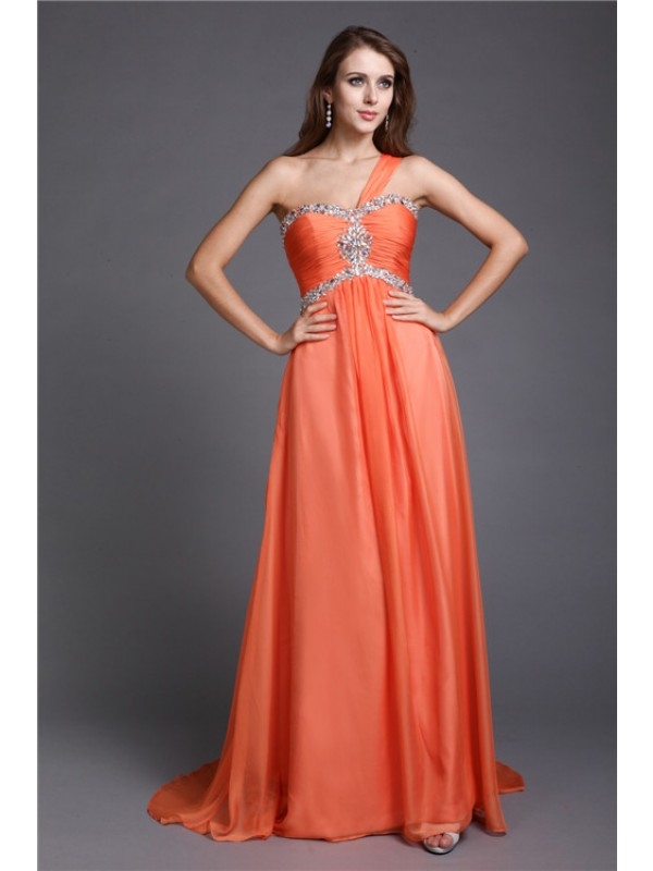 Hot Sale A-Line One-Shoulder Sleeveless Long Chiffon Dress