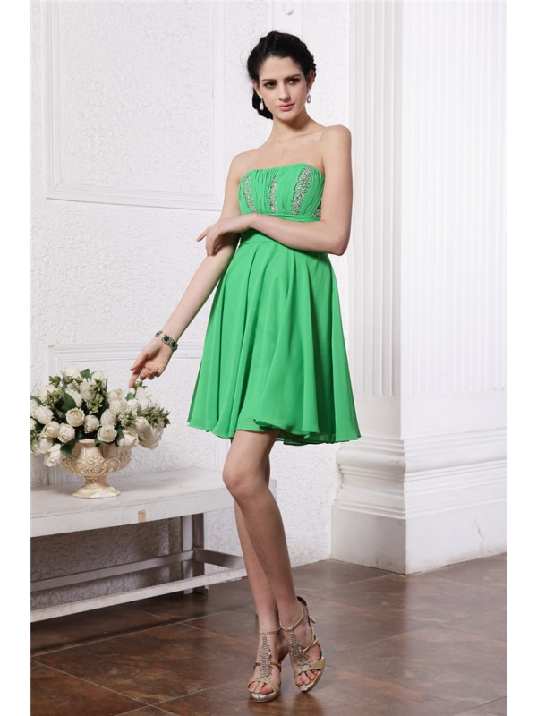 Hot Sale Sheath Strapless Sleeveless Short Chiffon Cocktail Dress