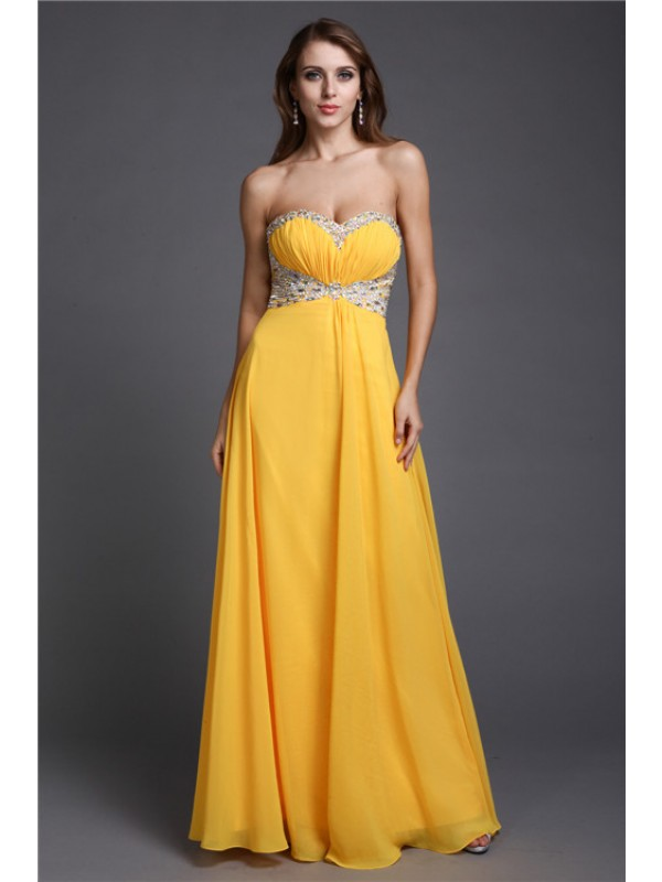 Hot Sale A-Line Sleeveless Sweetheart Long Chiffon Dress