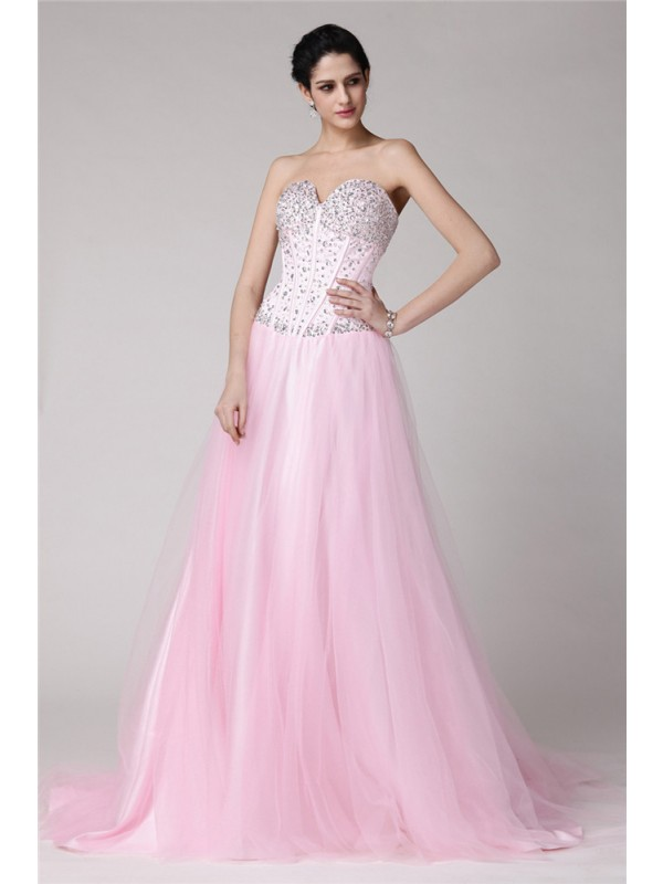 Hot Sale A-Line Sweetheart Sleeveless Long Elastic Woven Satin Net Dress