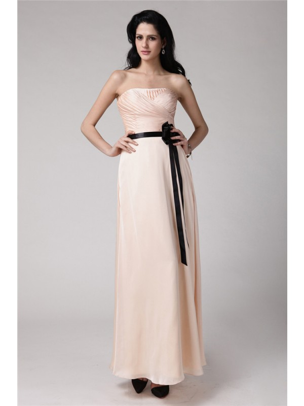 Gorgeous Sheath Strapless Sleeveless Sash Elastic Woven Satin Chiffon Bridesmaid Dress
